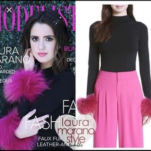 "Alice and Olivia ""Haylen Top With Fur Cuffs"""